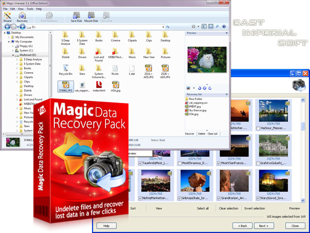 Magic Data Recovery Pack screenshot: recover, undelete, unerase, restore, photo, image, picture, deleted, lost, ntfs, fat, files, hdd, data, get back, data recovery, lost files, undelete software, unerase software, undelete program, easy recovery deleted, unerase ntfs, unerase fat