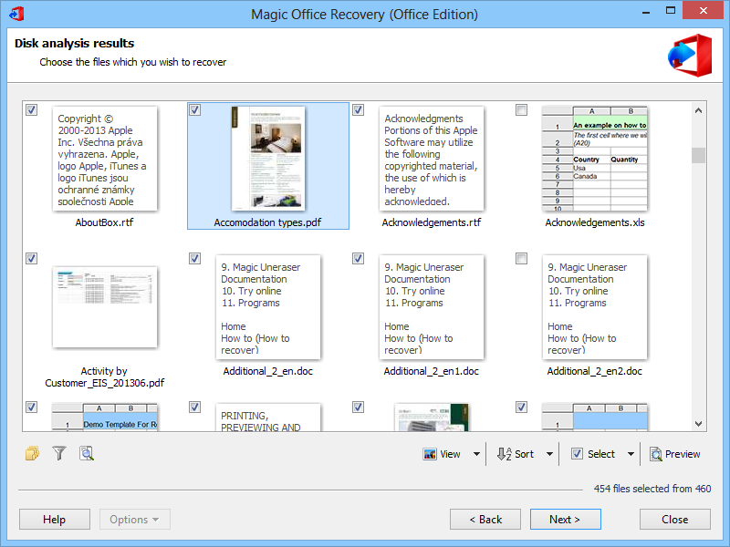 Magic Office Recovery screenshot: document recovery, word recovery, excel recovery, office recovery, pdf recovery, word document recovery, excel file recovery, spreadsheet, word, excel, openoffice, doc, docx, xls, xlsx, pdf, rtf, recover, repair, restore, tool, software