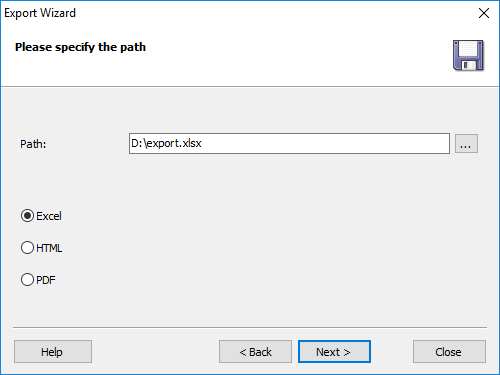 Specify the file path to save data, as well as report type