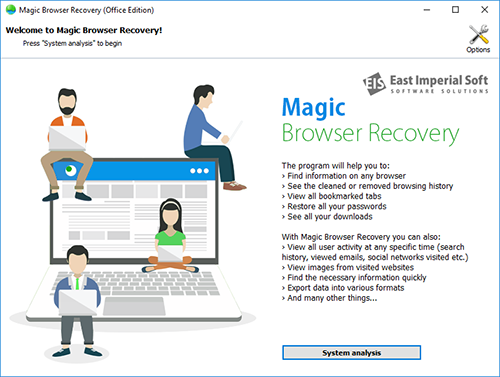 Welcome screen in Magic Browser Recovery