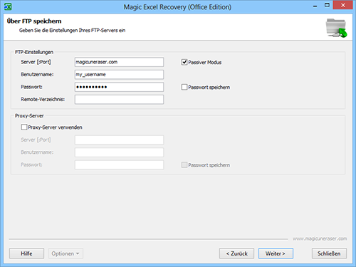 Magic Excel Recovery: FTP-Server Einstellungen
