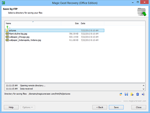 Select a directory for saving your files