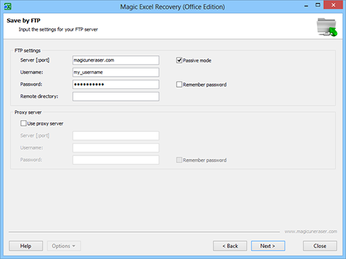Magic Excel Recovery: FTP server settings