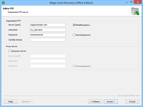 Magic Excel Recovery: Impostazioni del server FTP