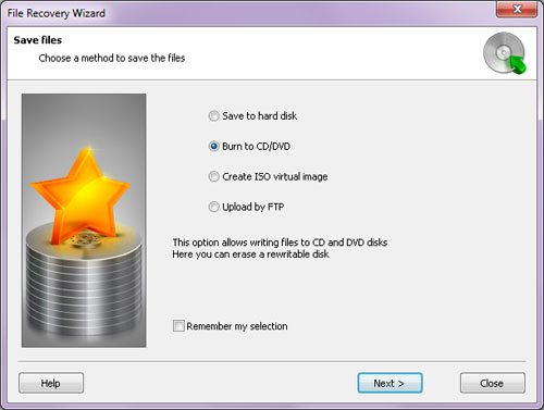 The wizard allows saving the files onto a different disk, archiving them to a ZIP file, or uploading to a network location over the FTP protocol