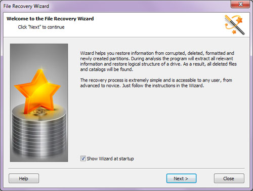 Features fully guided, step-by-step file recovery wizard