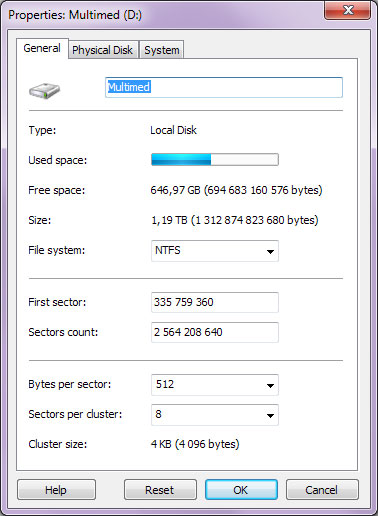 Using Magic NTFS Recovery: Logical disk properties