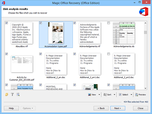 Magic Office Recovery: Disk analysis results