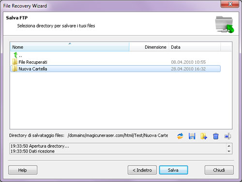 Magic Partition Recovery: Salvataggio su FTP: Directory Remota