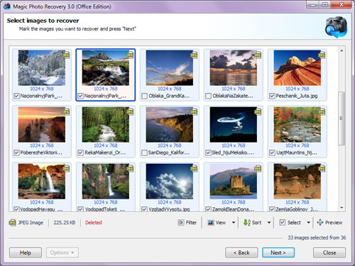 Select the photos to be recovered