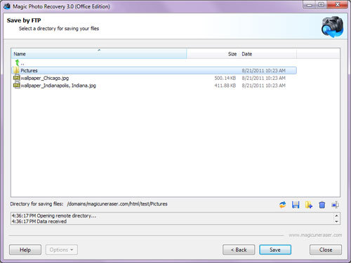 Choose the remote FTP server directory to save your recovered photos