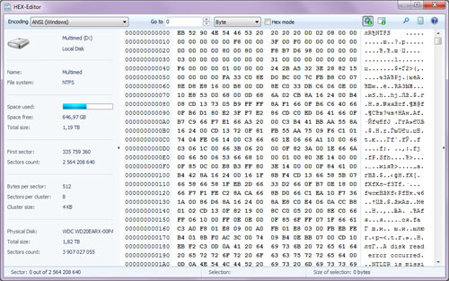 The software includes a HEX-editor to view file contents as well as data stored on logical partitions or physical drives