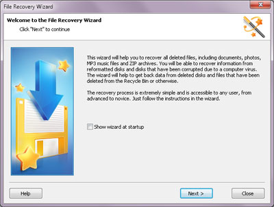 You can use the convenient step-by-step wizard for analyzing, searching for and saving deleted files