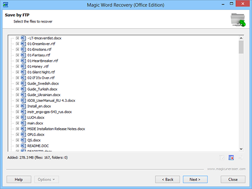 Save by FTP: Select the documents to recover