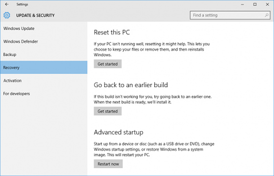 Reset this PC option in the Recovery tab