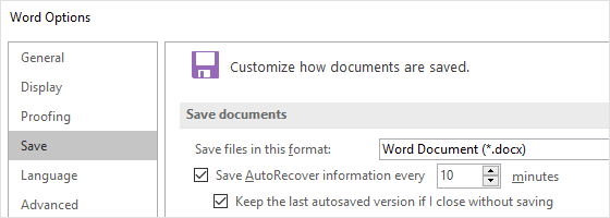 You can change the time options for auto-saving