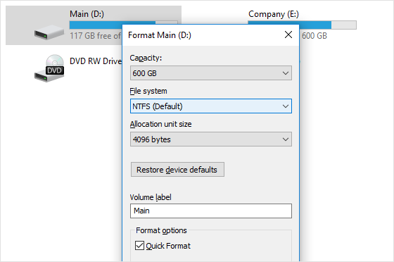 Formatting a disk to change its file system